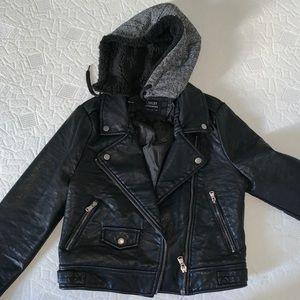 fashionnova leather jacket with removable fur hood